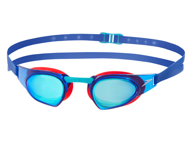 speedo Fastskin Prime Mirror Goggle psycho red/bali blu/blu mirror